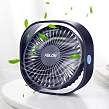 Ablon Desk Fan, Small Table Personal Portable Mini Fan Powered by USB, 3 Speed and Quiet Design for Office, Home,Outdoor Travel(Navy Blue)