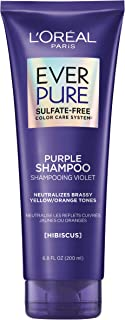 L'Oreal Paris Hair Care EverPure Sulfate Free Brass Toning Purple Shampoo for Blonde, Bleached, Silver, or Brown Highlight...