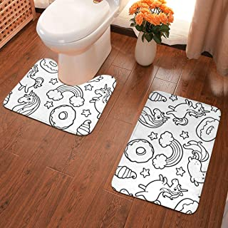 Coloring Pusheen Donuts and Unicorn Bath Rug Set 2 Piece Non Slip Bathroom Shower Rug and U Shaped Toilet Contour Mat