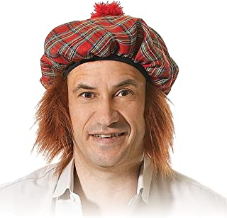 Bristol Novelty BH124 Scots Tartan Hat with Ginger Hair, Mens, One Size