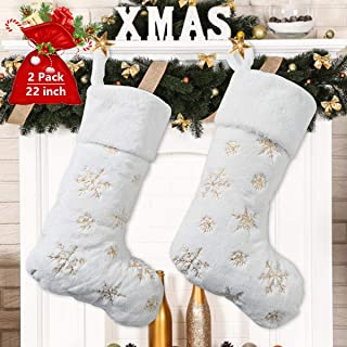 Kederwa Christmas Stockings, 2 Pack 22 inches Gold Snowflake Xmas Stockings Set, Personalized Plush Faux Fur Stocking, Hanging Ornaments Candy Gift Bags for Christmas Decorations