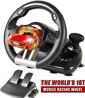 Serafim R1+ Volante de Carreras para Xbox One, PS4, PC, Switch, PS3, iOS, Android – Volante con vibración para Xbox One, Volante para PS4, Volante para PC Gaming – Volante Gaming con Pedales