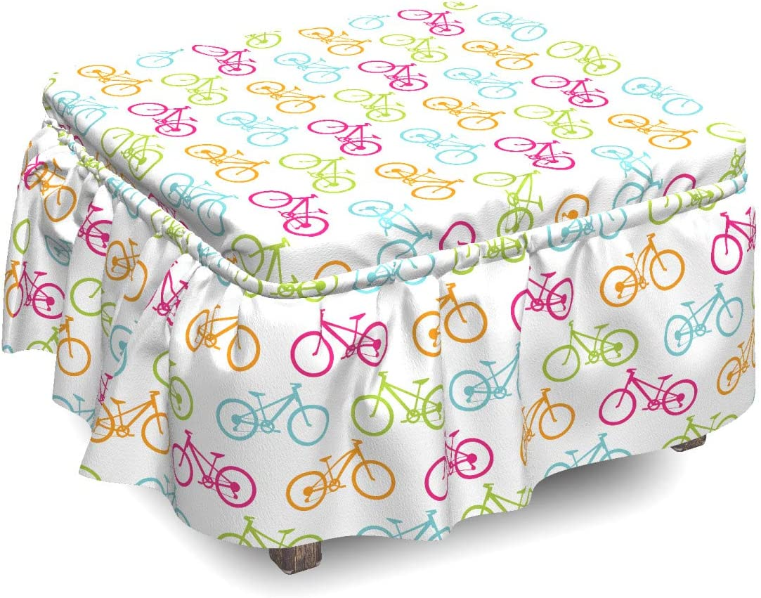 Ambesonne Bicycle Ottoman Cover Different Colored Max 50% OFF Bikes Piec Manufacturer regenerated product 2