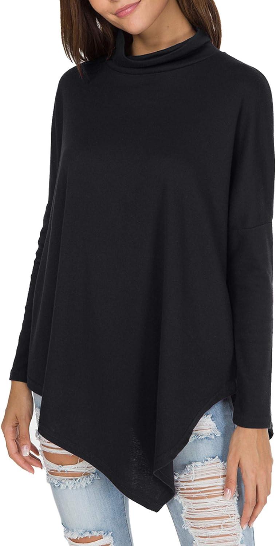 levaca Women's Long Batwing Sleeve Turtleneck Hankerchief Hem Loose Casual Tunic