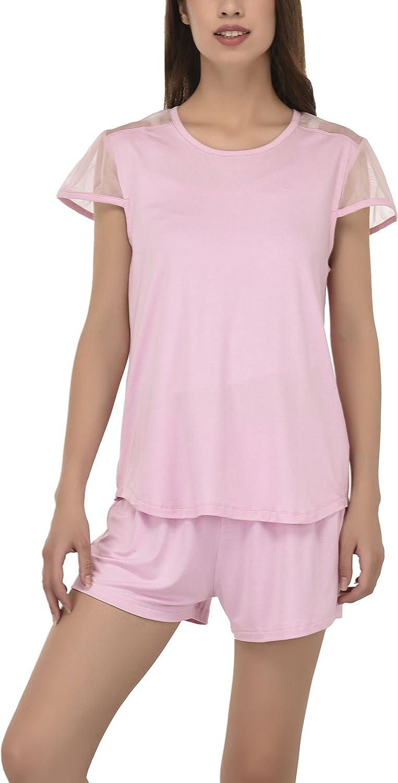 VDRNY Women's Sleepwear Short Sleeve Top and Pajama Short Sets Pajamas for Women Pjs Pj Set