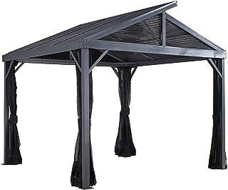 Sojag 8' x 8' Sanibel II Hardtop Gazebo Outdoor Sun Shelter, Light Grey