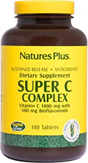 NaturesPlus Super C Complex, Sustained Release - 1000 mg, 180 Vegetarian Tablets- High Potency Immune Support Supplement, ...