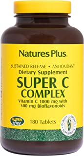 NaturesPlus Super C Complex, Sustained Release - 1000 mg, 180 Vegetarian Tablets- High Potency Immune Support Supplement, Antioxidant - Enhanced Absorption - Gluten-Free - 180 Servings