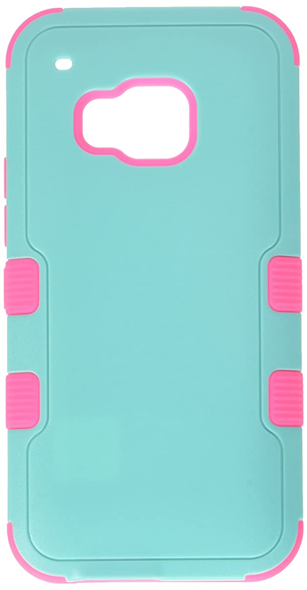 Asmyna HTC One M9 Tuff Hybrid Phone Protector Cover - Retail Packaging - Natural Teal Green/Electric Pink