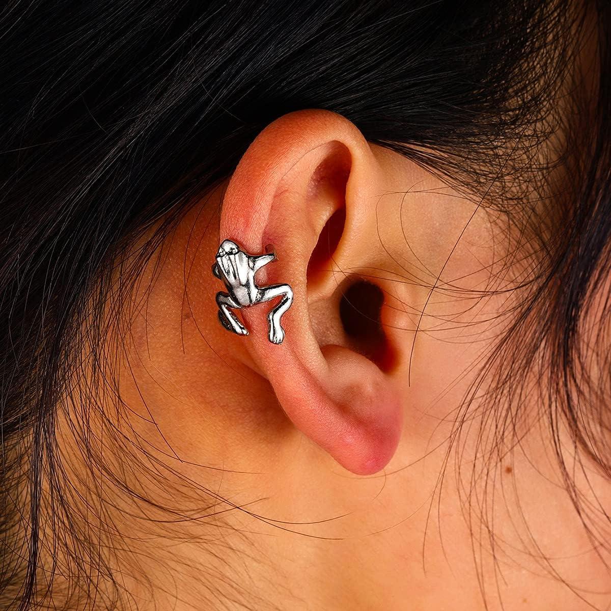 3 Pairs Vintage Frog Earrings, Frog Ear Cuffs Crawler Ear Wrap Climbers Earrings, Frog Stud Earrings for Women Girls
