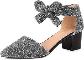 Women's Block Heels Lace Up Sandals Glitter Pumps