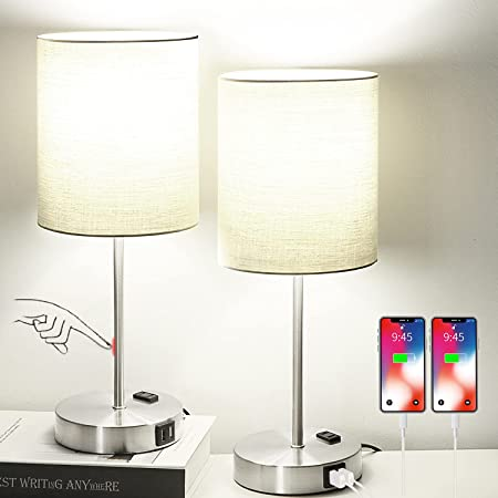 Set of 2 Touch Control Table Lamps with 2 USB Ports & AC Outlet, 3-Way Dimmable Bedside Nightstand Lamps for Living Room Nursery Office Bedroom, E26 800 Lumens 5000K Daylight Bulbs Included