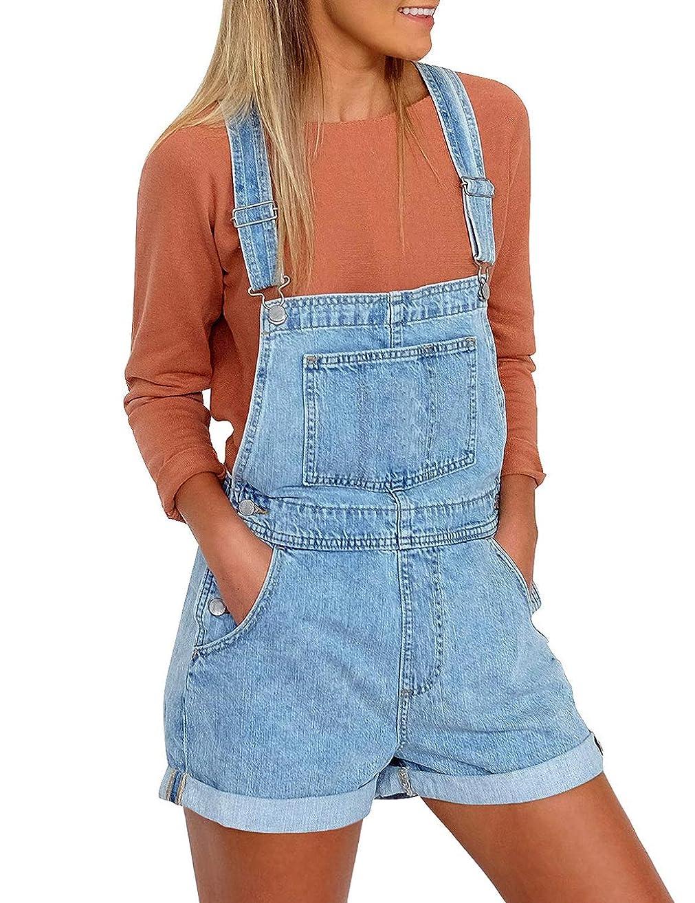 Utyful Women's Adjustable Straps Denim Bib Overalls Shorts Roll Cuff Shortalls