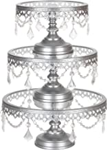 Amalfi Decor Cake Stand Set of 3 Pack with Glass Tops, Dessert Cupcake Pastry Candy Display Plate for Wedding Event Birthday Party, Round Metal Pedestal Holder with Crystals, Silver