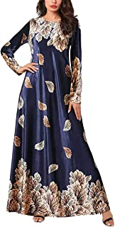 zhxinashu Women Muslim Plus Size Dress - Ladies Long Sleeve Kaftan Plant Print Gown Velvet Islamic Clothing