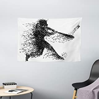 """Ambesonne Black and White Tapestry, Abstract Illustration of a Baseball Player Posing Grunge, Wide Wall Hanging for Bedroom Living Room Dorm, 60"""" X 40"""", Grey White"""