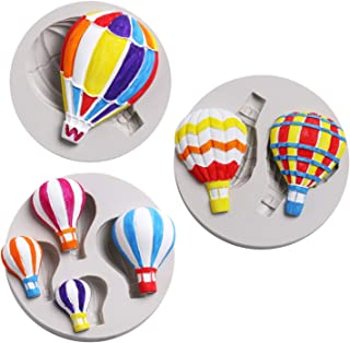 Fewo 3Pcs/Set Hot Air Balloon Fondant Molds Silicone Chocolate Candy Mold for Party Baby Shower Cake Decorating Polymer Clay Fimo Plaster Porcelain Wax Melts Mini Soap Resin Mould