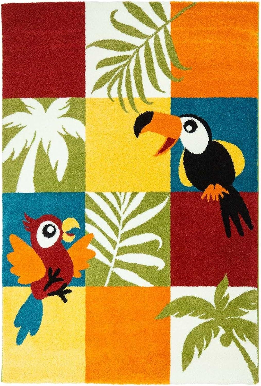 Alfombra Infantil Juego Alfombra Pelo Corto Plano Diseo de Animal Tucan pájaro Papagayo Soft habitación de los Nios, 80 150 cm