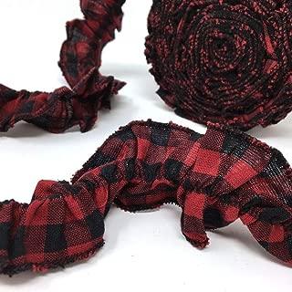 Red Black Mini Buffalo 12 ft Ruffled Homespun Fabric Garland Ribbon Trim for Sewing or for Christmas Decor