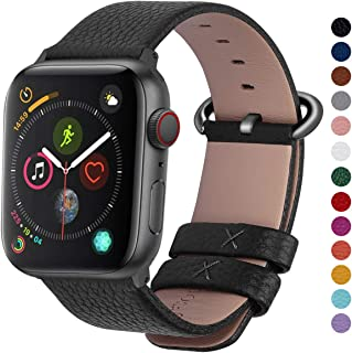 Fullmosa Compatible Apple Watch Band 38mm 40mm 42mm 44mm Leather Compatible iWatch Band/Strap Compatible Apple Watch Series 5 4 3 2 1, 38mm 40mm Black + Gunmetal Buckle