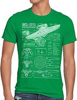 style3 NCC-1701 Camiseta para Hombre T-Shirt Fotocalco Azul Christopher Pike Trek Trekkie Star