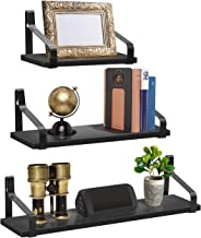 Sorbus Floating Shelves Wall Mounted - Rustic Wood Home Decor Wall Shelves for Bedroom Living Room Bathroom Kitchen Office Set of 3 (Wood Bracket Shelf - Black)