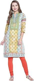 Indian Handicrfats Export Rangriti Womens Straight Polyester Kurta