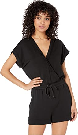 Super Soft French Terry Short Sleeve Surplice Romper