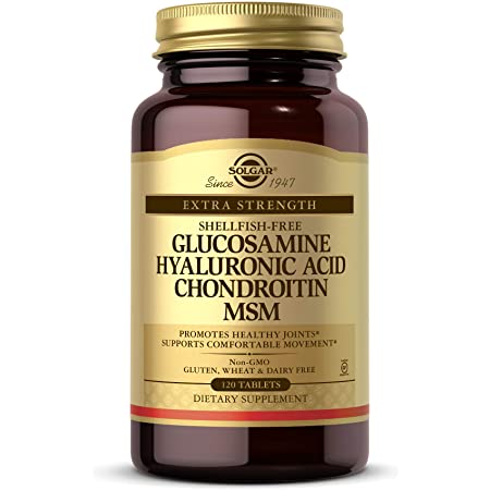 Solgar Glucosamine Hyaluronic Acid Chondroitin MSM, 120 Tablets - Supports Healthy Joints - Supports Range of Motion & Flexibility - Extra Strength, Shellfish Free - Non-GMO, Gluten Free - 40 Servings