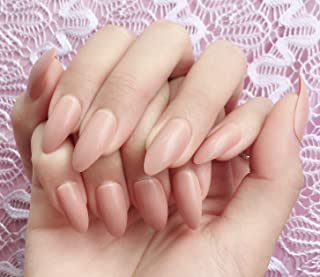 Simple Nude Nail Tips Stiletto False Nails for Girls