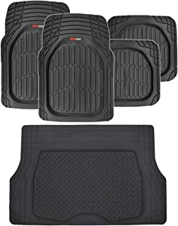 Motor Trend FlexTough Deep Dish Heavy Duty Rubber Floor Mats & Cargo Liner All Weather (Black) - Complete Coverage Set