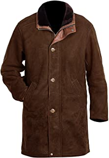 "L.Outfitters Men`s Longmire Sheriff Walt Robert Taylor Cow Suede Leather Coat (Brown, Large - Body Chest 42"" To 44"")"
