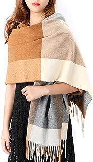 Women's Grid Shawl, Cashmere Blend Plaid Stole Scarf, Thick Soft Pashmina Wrap Lattice Large Wool Blanket 75'' x 24''