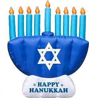 Rocinha Hanukkah Inflatable Outdoor Decorations, 8 ft Chanukkah Menorah Blow Up for Yard & Lawn - Jewish Inflatable Menora...