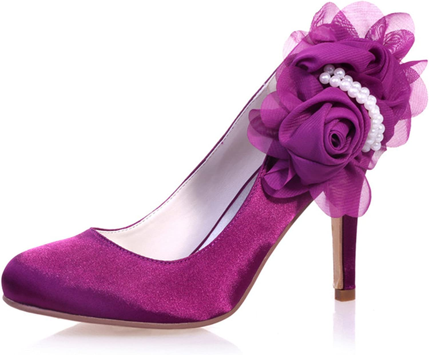 Fanciest Women's Bridal Wedding Party Evening Pointed-Toe Satin High Heel Pump shoes 5623-11