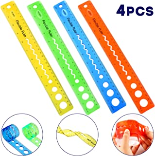 4 Pieces Flexible Rulers 12 Inch Transparent Rulers Shatterproof Plastic Ruler Straight Soft Ruler Dual Side Rulers for Student School Office