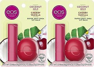 eos Super Soft Shea Lip Balm - Coconut Milk and Cherry Vanilla   24 Hour Hydration   Lip Care to Moisturize Dry Lips   Glu...
