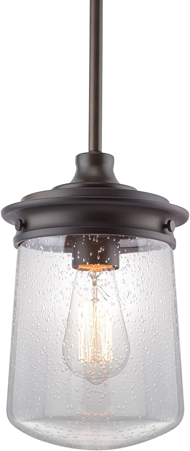Kira Home Mason 10.5  Industrial Pendant Light, Seeded Glass Shade + Oil-Rubbed Bronze Finish