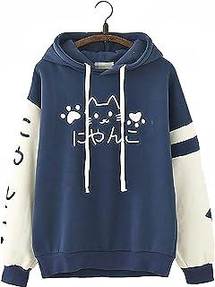 Linda Chicas Kawaii japonés Palabra Texto Dúo de Color Gato Kawaii Impresión Diseño Calentar Sudadera con Capucha de Verano