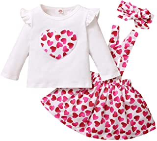 Baby Girls Valentine's Day Outfits Toddler Kids Heart Ruffles Long Sleeve T Shirt + Suspenders Dress Skirt Set Clothes