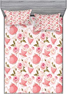 Ambesonne Floral Bedding Set with Sheet & Covers, Vintage Style Tea Cups with Roses Romantic Shabby Form Design Print, Printed Bedroom Decor 2 Shams, Full, Fern Green