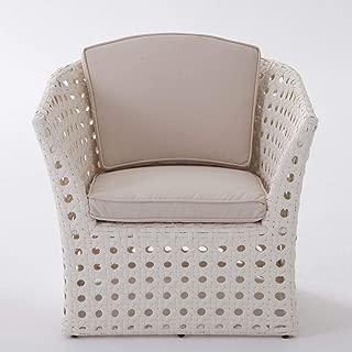 BrylaneHome Capri All-Weather Wicker Chair - White