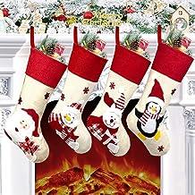 "Yostyle Christmas Stockings, 4pcs 18.5"" Large Xmas Stockings Decorations,Santa Claus Snowman Penguin Bear Character with H..."