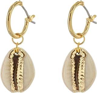 Ocean Charm Gold Hoop Earrings with Charm Seahorse Charm Mermaid Earrings