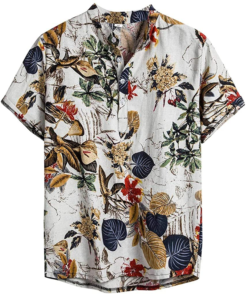 Men's Casual Summer Floral Shirts Lightweight Short Sleeves Button Down Breathable Holiday Travel Beach Tee Tops M-3XL