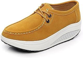 Shenn Femmes Confortable Plate-forme Suède Cuir Entraîneur Chaussures 1061