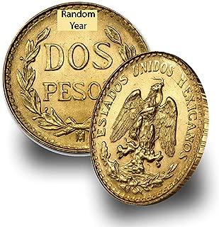1919-1948 (Random Year) Mexico Gold Dos 2 Pesos Brilliant Uncirculated .0482 troy oz AGW