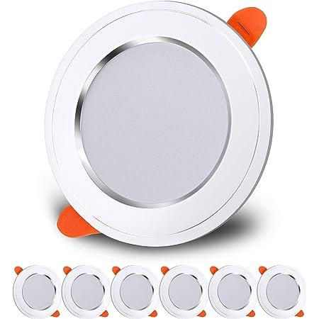 LED Spot Encastré 7W Extra Plat Plafonnier Encastré Equivalent 70W Blanc Froid 6000K AC180-265 Plafonnier Rond pour Salon, Salle de Bain, Cuisine, Lot de 6