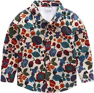 BMEIG Boys Casual Shirt Cotton Floral Pattern Button Up Long Sleeve Tops Kids 3-8 Year