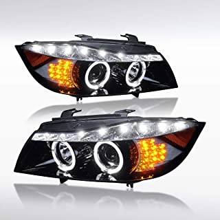 Autozensation For BMW E90 3-Series 4Dr Glossy Black Halo LED Signal Projector Headlights Pair